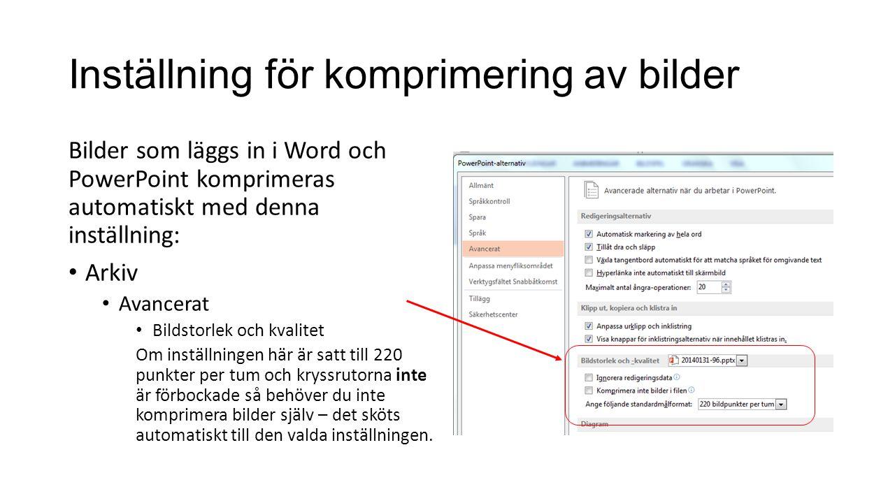 Justeringar av text runt figur i Word Med bilden markerad: • Bildverktyg, Radbyte • Fler layoutalternativ • Radbyte – Höger • Avstånd från text – 0,1 cm
