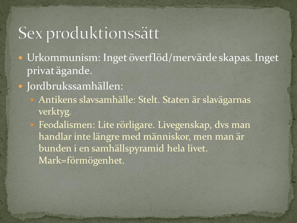  Urkommunism: Inget överflöd/mervärde skapas. Inget privat ägande.  Jordbrukssamhällen:  Antikens slavsamhälle: Stelt. Staten är slavägarnas verkty