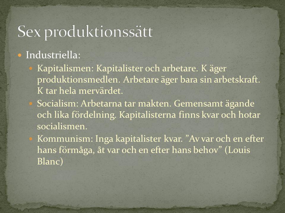  Industriella:  Kapitalismen: Kapitalister och arbetare. K äger produktionsmedlen. Arbetare äger bara sin arbetskraft. K tar hela mervärdet.  Socia