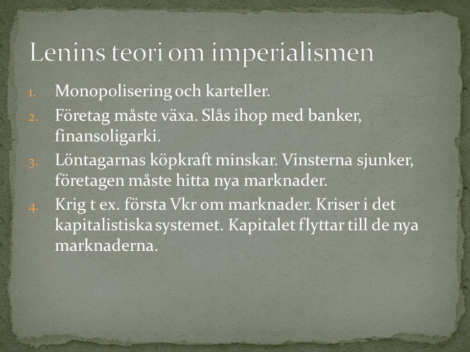 1. Monopolisering och karteller. 2. Företag måste växa. Slås ihop med banker, finansoligarki. 3. Löntagarnas köpkraft minskar. Vinsterna sjunker, före