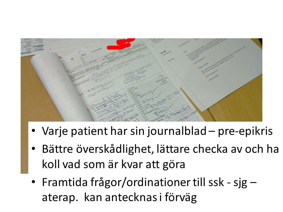 • Varje patient har sin journalblad – pre-epikris • Bättre överskådlighet, lättare checka av och ha koll vad som är kvar att göra • Framtida frågor/or
