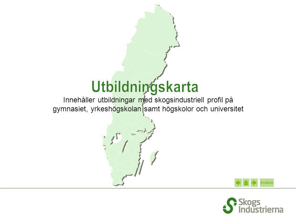 Avsluta Innehåller utbildningar med skogsindustriell profil på gymnasiet, yrkeshögskolan samt högskolor och universitet