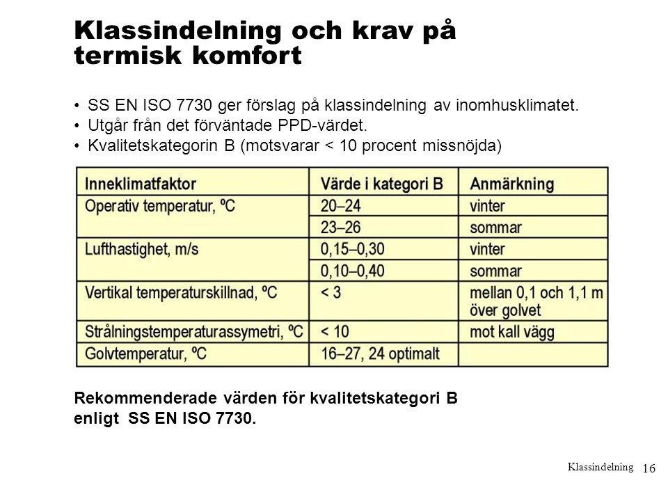 16 Klassindelning Klassindelning och krav på termisk komfort •SS EN ISO 7730 ger förslag på klassindelning av inomhusklimatet. •Utgår från det förvänt