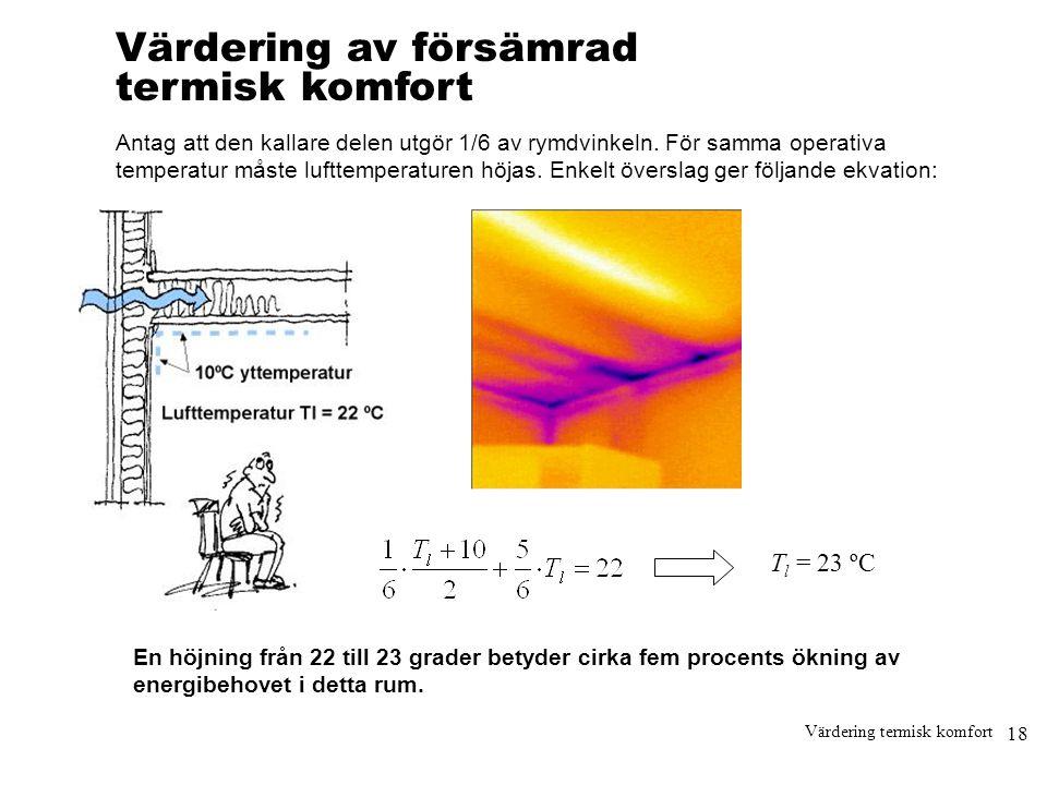 18 Värdering termisk komfort Värdering av försämrad termisk komfort Antag att den kallare delen utgör 1/6 av rymdvinkeln. För samma operativa temperat