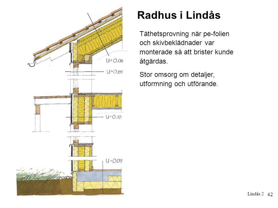42 Lindås 2 Radhus i Lindås Täthetsprovning när pe-folien och skivbeklädnader var monterade så att brister kunde åtgärdas. Stor omsorg om detaljer, ut