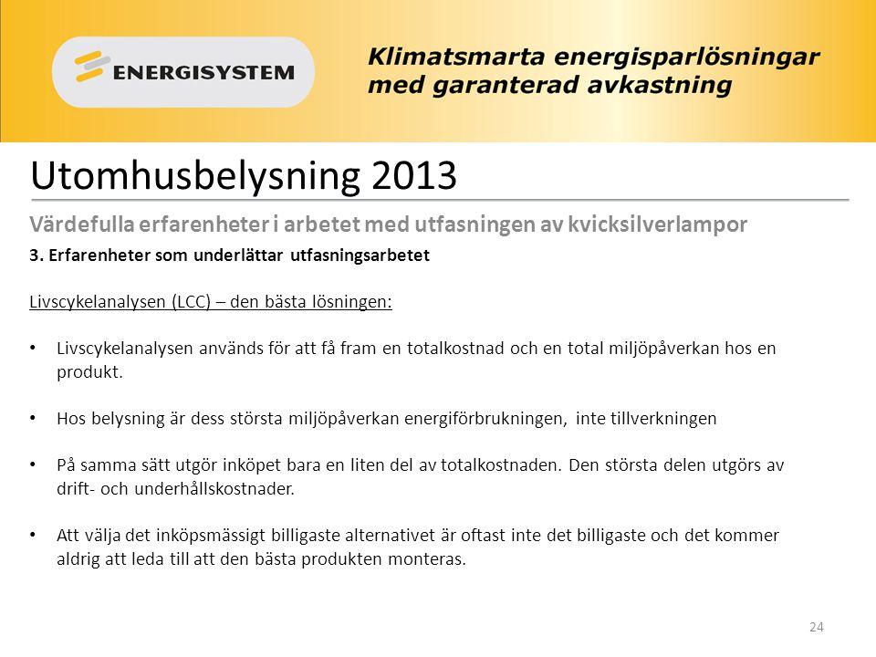 Utomhusbelysning 2013 Värdefulla erfarenheter i arbetet med utfasningen av kvicksilverlampor 3.