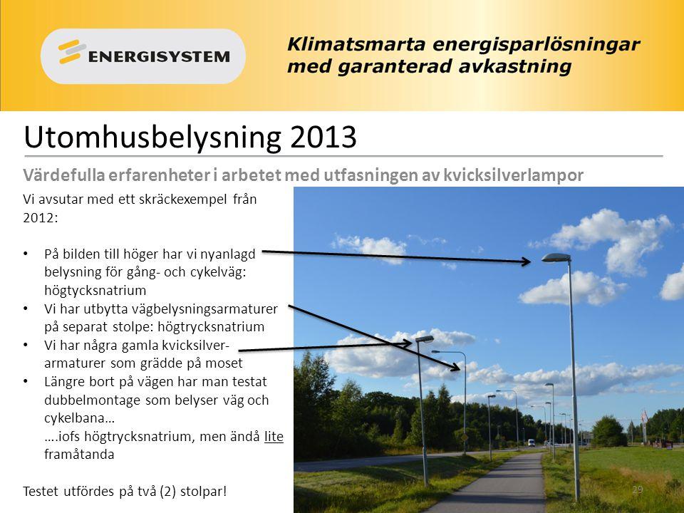 Utomhusbelysning 2013 Värdefulla erfarenheter i arbetet med utfasningen av kvicksilverlampor Vi avsutar med ett skräckexempel från 2012: • På bilden t