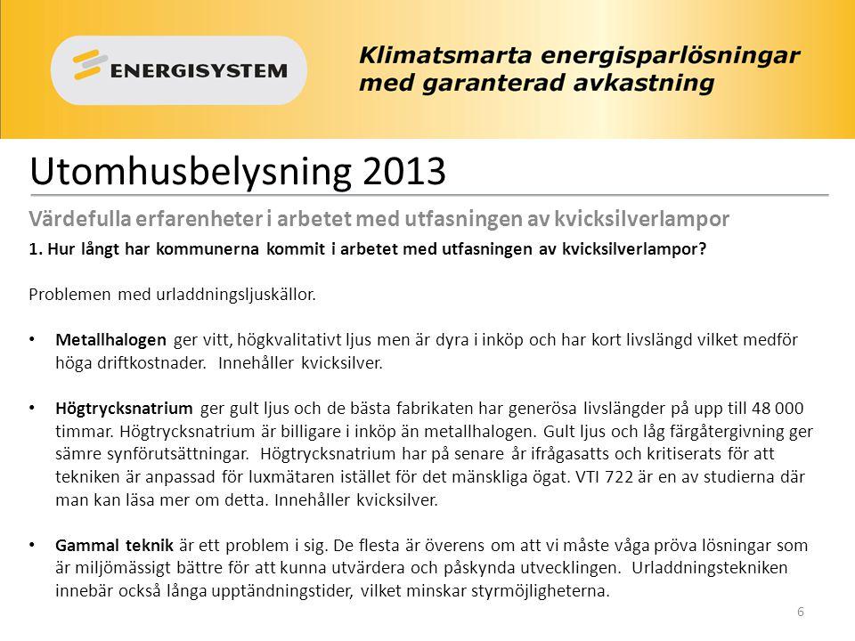 Utomhusbelysning 2013 Värdefulla erfarenheter i arbetet med utfasningen av kvicksilverlampor 1. Hur långt har kommunerna kommit i arbetet med utfasnin