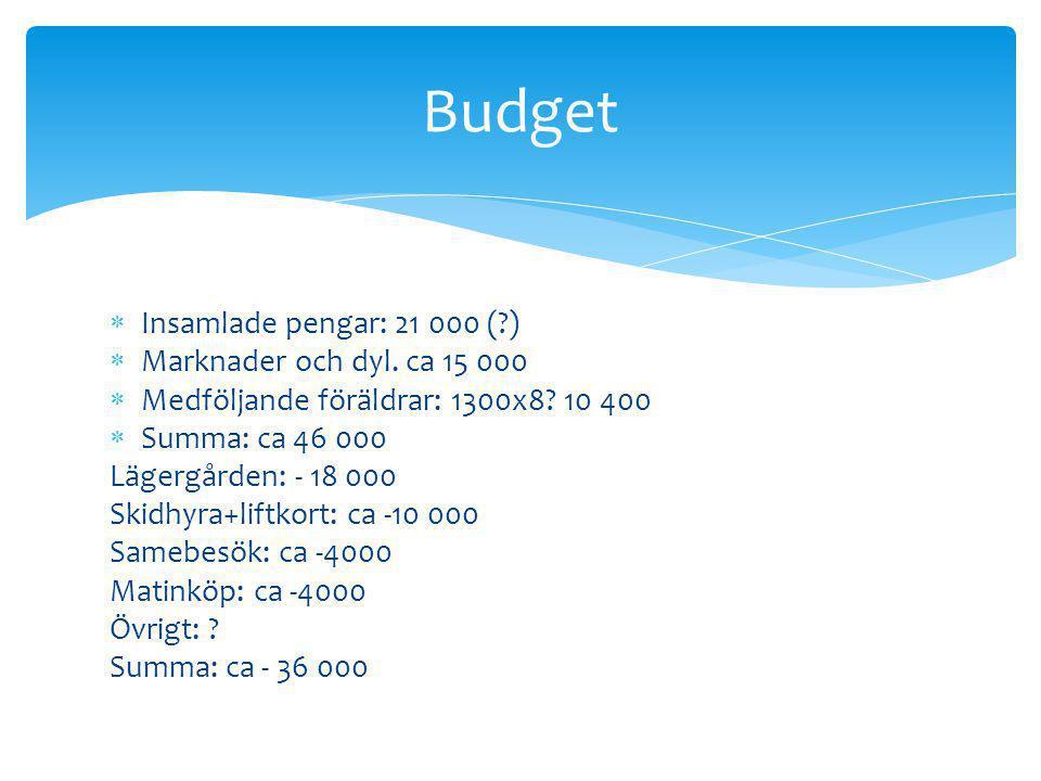  Insamlade pengar: 21 000 (?)  Marknader och dyl.