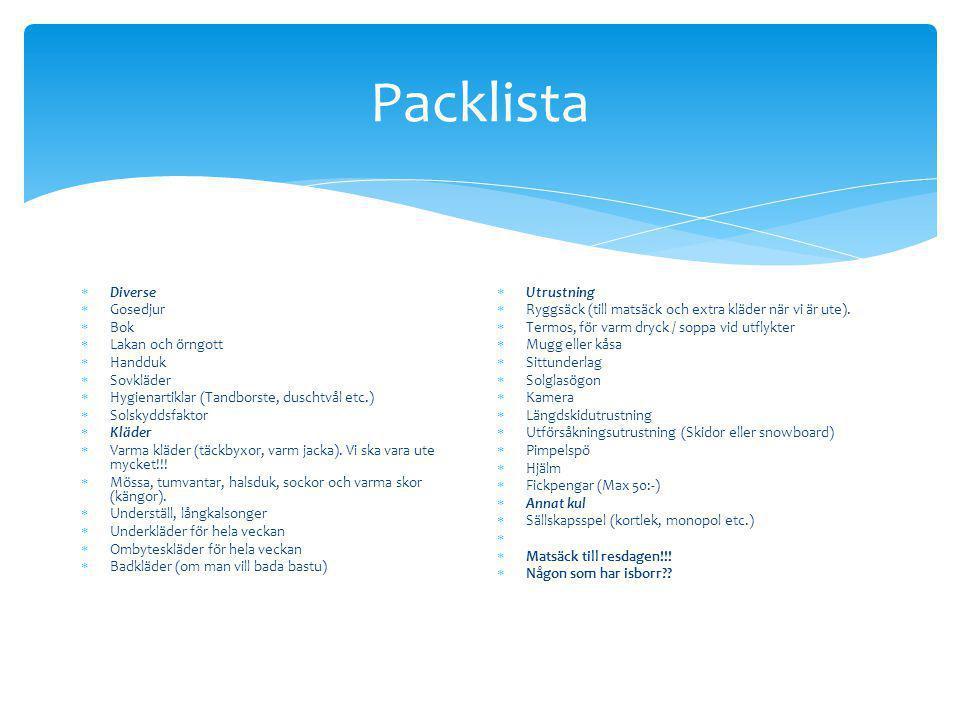 Packlista  Diverse  Gosedjur  Bok  Lakan och örngott  Handduk  Sovkläder  Hygienartiklar (Tandborste, duschtvål etc.)  Solskyddsfaktor  Kläde