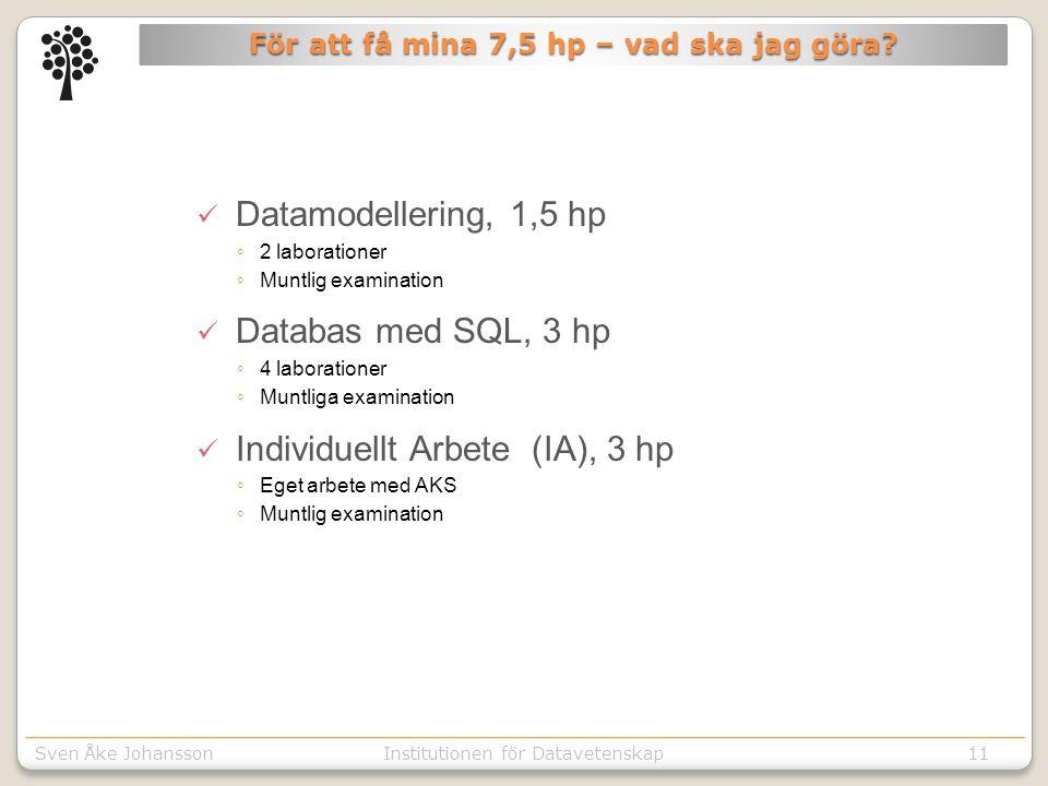 Sven Åke JohanssonInstitutionen för Kommunikation o designSven Åke JohanssonInstitutionen för Datavetenskap11 För att få mina 7,5 hp – vad ska jag gör