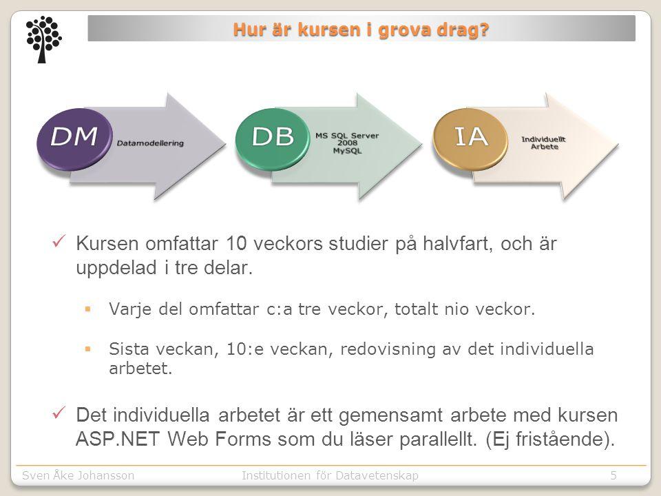 Sven Åke JohanssonInstitutionen för Kommunikation o designSven Åke JohanssonInstitutionen för Datavetenskap Hur är kursen i grova drag.
