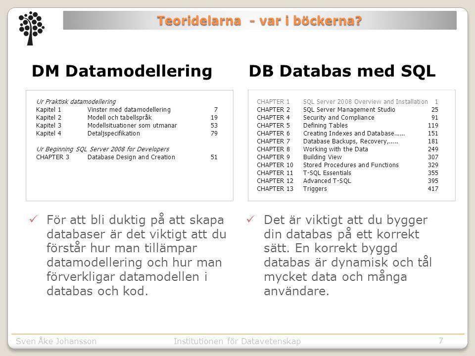 Sven Åke JohanssonInstitutionen för Kommunikation o designSven Åke JohanssonInstitutionen för Datavetenskap Teoridelarna - var i böckerna.