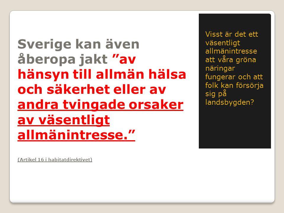 Sverige kan även åberopa jakt av hänsyn till allmän hälsa och säkerhet eller av andra tvingade orsaker av väsentligt allmänintresse. (Artikel 16 i habitatdirektivet) Visst är det ett väsentligt allmänintresse att våra gröna näringar fungerar och att folk kan försörja sig på landsbygden