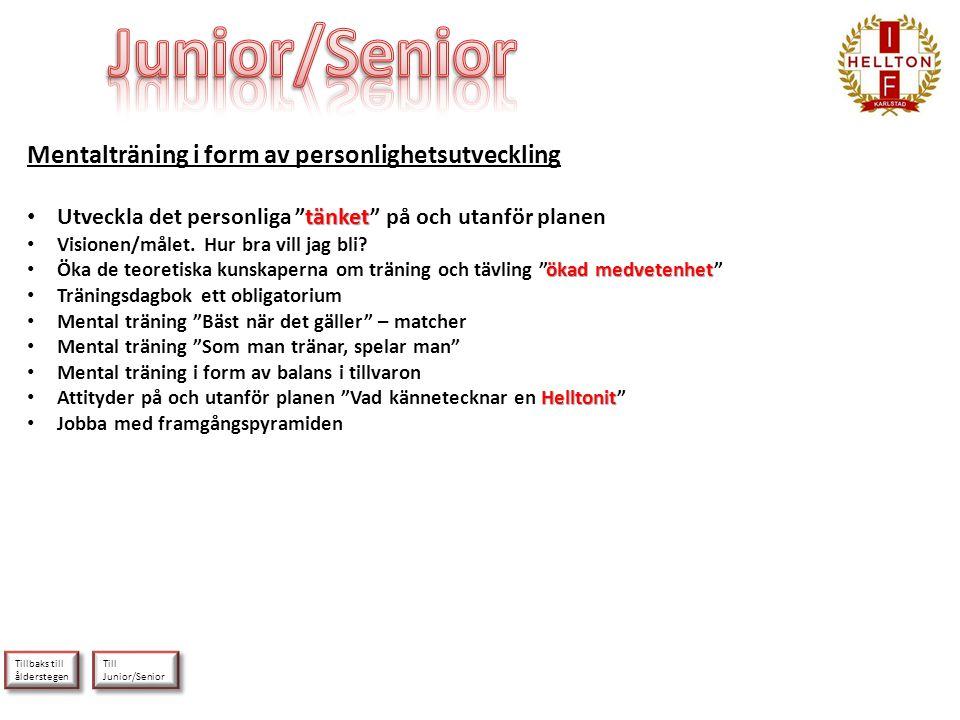 Till Junior/Senior Till Junior/Senior Tillbaks till ålderstegen Tillbaks till ålderstegen Mentalträning i form av personlighetsutveckling tänket • Utv