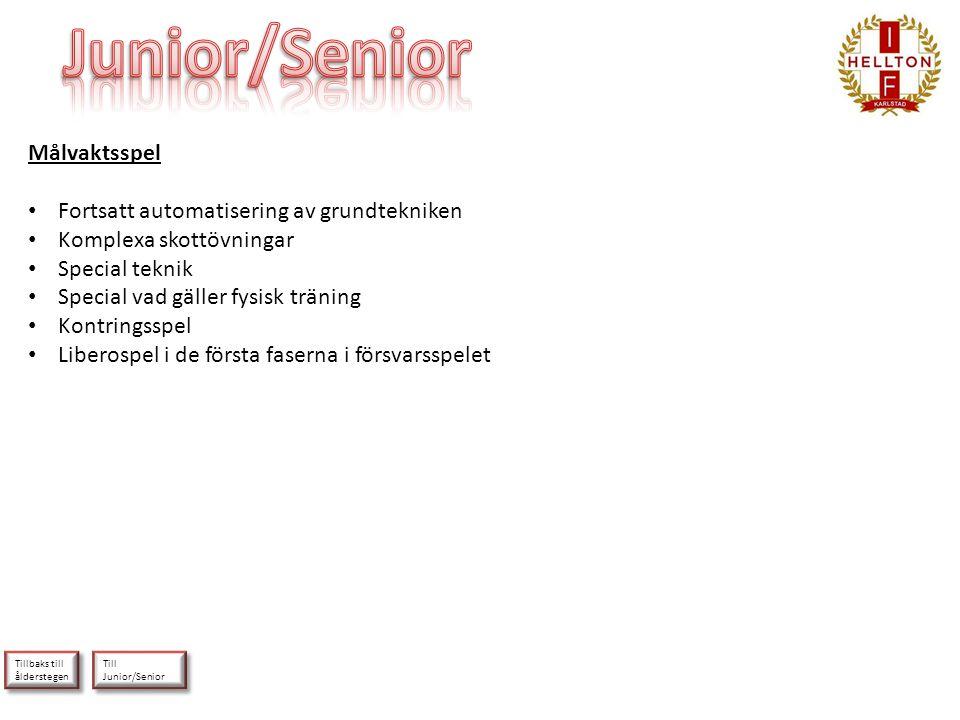 Till Junior/Senior Till Junior/Senior Tillbaks till ålderstegen Tillbaks till ålderstegen Målvaktsspel • Fortsatt automatisering av grundtekniken • Ko