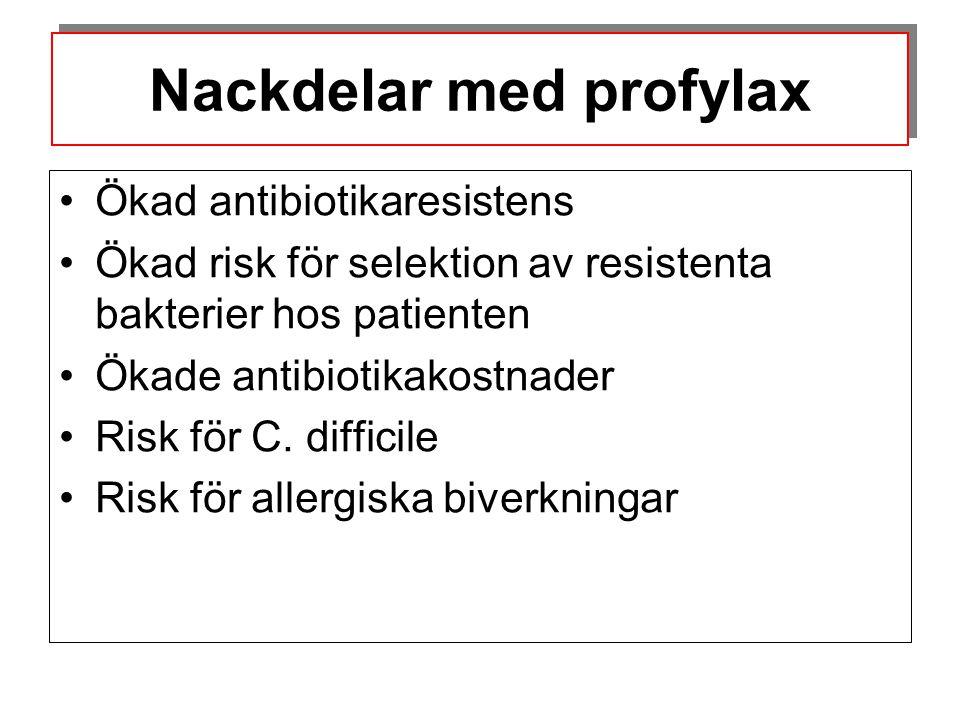 Nackdelar med profylax •Ökad antibiotikaresistens •Ökad risk för selektion av resistenta bakterier hos patienten •Ökade antibiotikakostnader •Risk för
