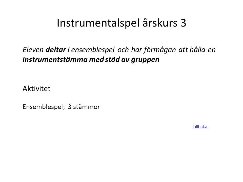 Instrumentalspel årskurs 3 Eleven deltar i ensemblespel och har förmågan att hålla en instrumentstämma med stöd av gruppen Aktivitet Ensemblespel; 3 s