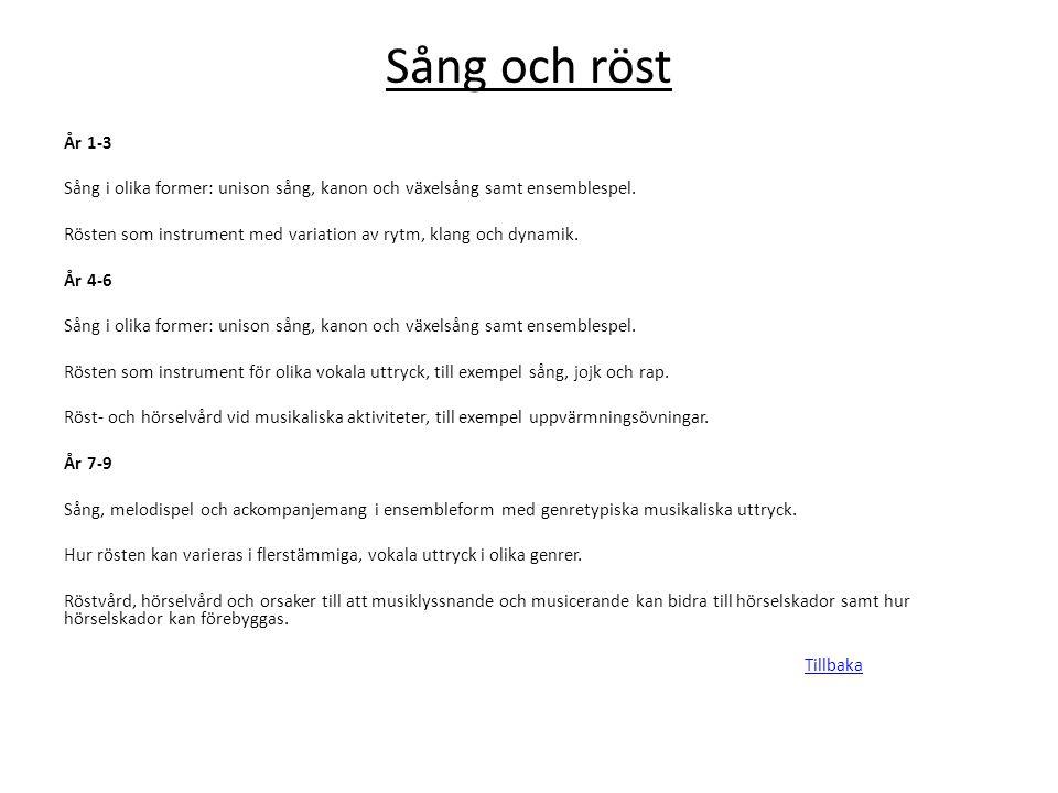 Sång och röst År 1-3 Sång i olika former: unison sång, kanon och växelsång samt ensemblespel. Rösten som instrument med variation av rytm, klang och d