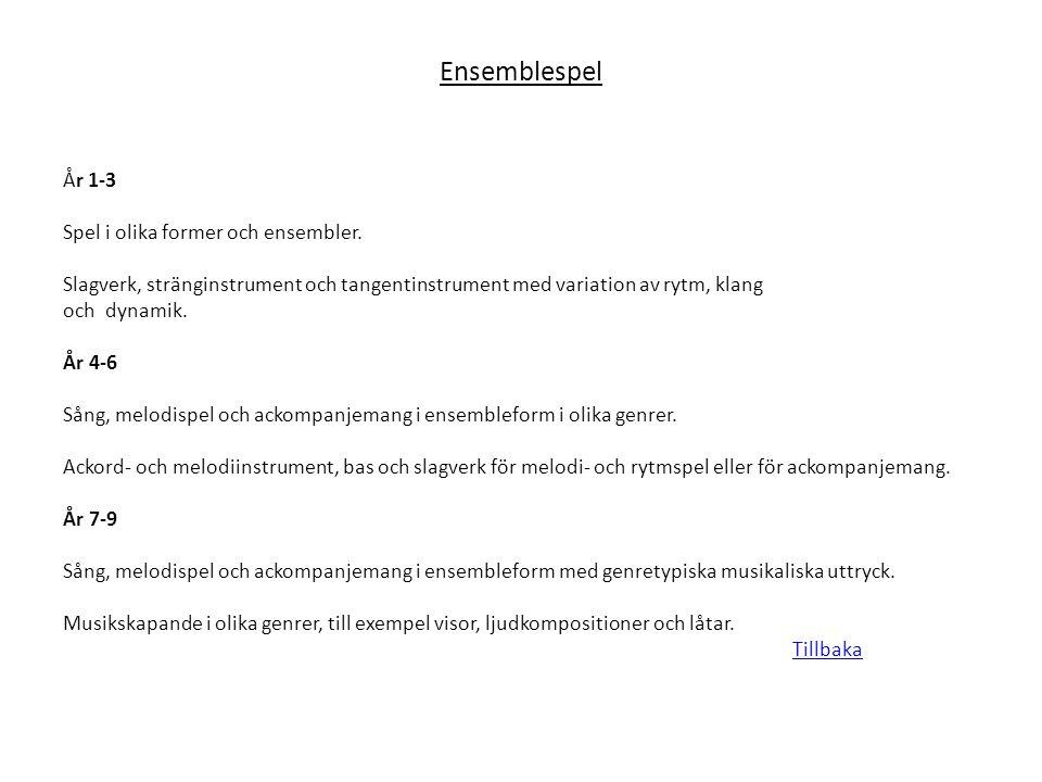 Ensemblespel År 1-3 Spel i olika former och ensembler. Slagverk, stränginstrument och tangentinstrument med variation av rytm, klang och dynamik. År 4