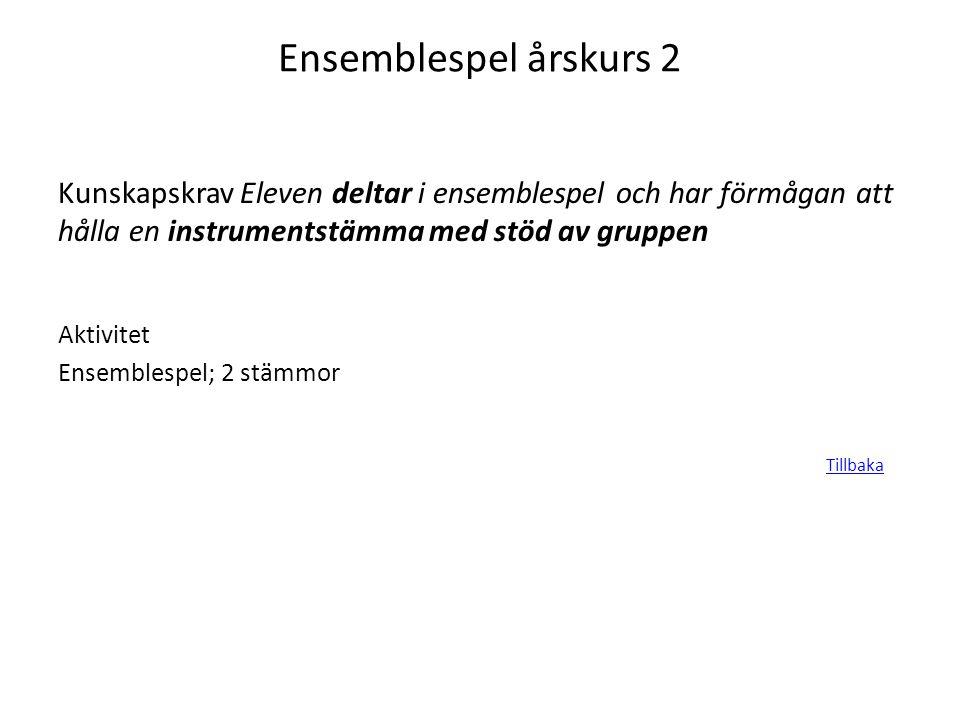 Ensemblespel årskurs 2 Kunskapskrav Eleven deltar i ensemblespel och har förmågan att hålla en instrumentstämma med stöd av gruppen Aktivitet Ensemble