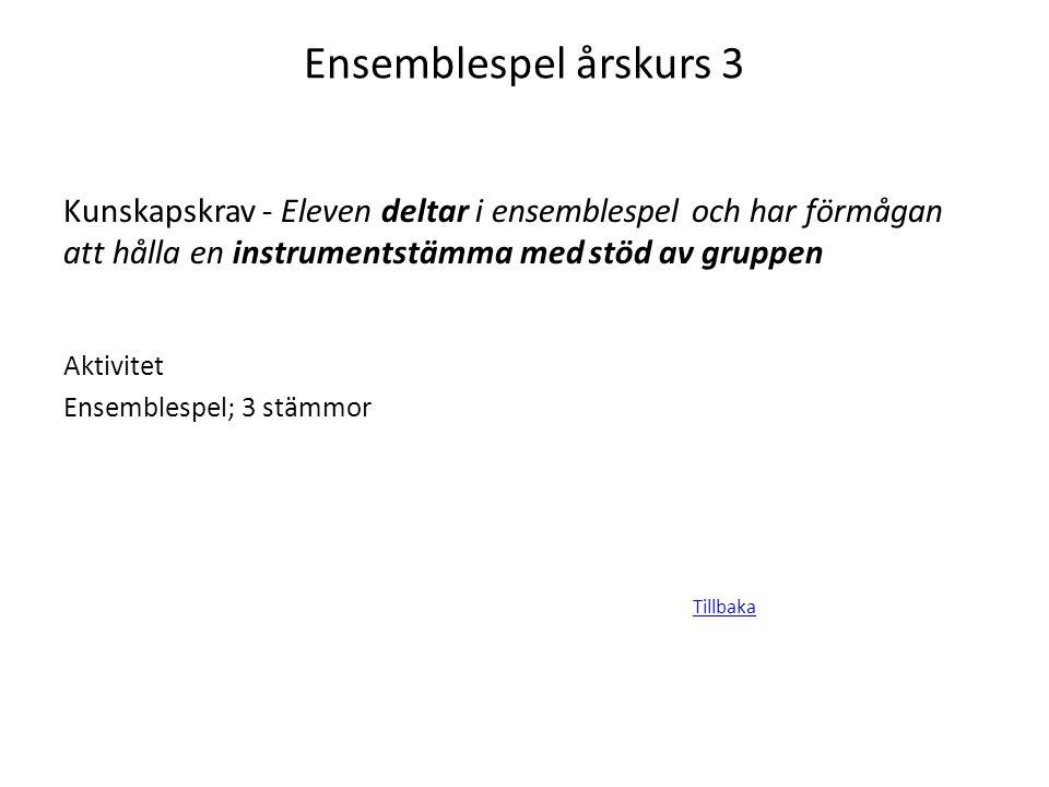 Ensemblespel årskurs 3 Kunskapskrav - Eleven deltar i ensemblespel och har förmågan att hålla en instrumentstämma med stöd av gruppen Aktivitet Ensemb