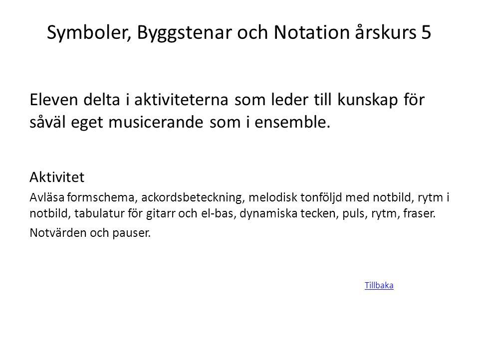 Symboler, Byggstenar och Notation årskurs 5 Eleven delta i aktiviteterna som leder till kunskap för såväl eget musicerande som i ensemble. Aktivitet A