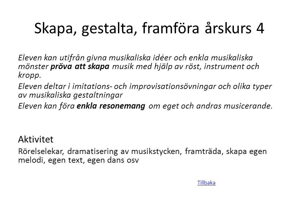 Skapa, gestalta, framföra årskurs 4 Eleven kan utifrån givna musikaliska idéer och enkla musikaliska mönster pröva att skapa musik med hjälp av röst,