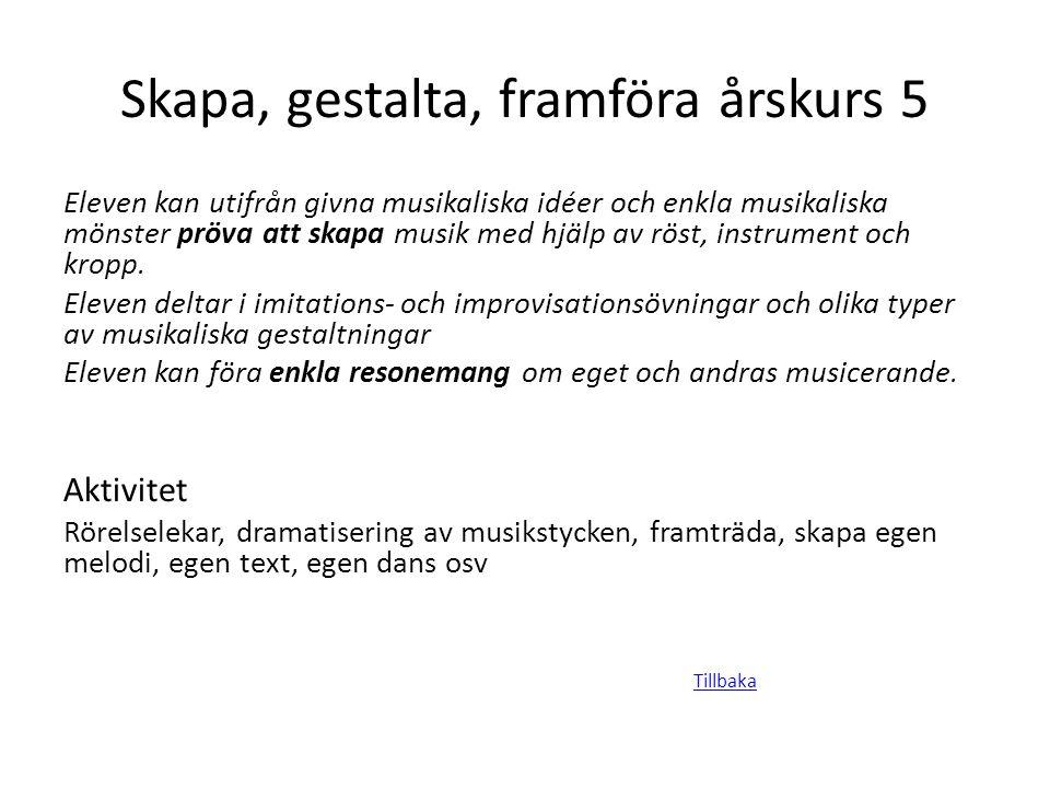 Skapa, gestalta, framföra årskurs 5 Eleven kan utifrån givna musikaliska idéer och enkla musikaliska mönster pröva att skapa musik med hjälp av röst,