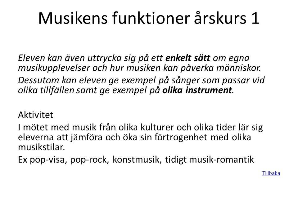 Musikens funktioner årskurs 1 Eleven kan även uttrycka sig på ett enkelt sätt om egna musikupplevelser och hur musiken kan påverka människor. Dessutom