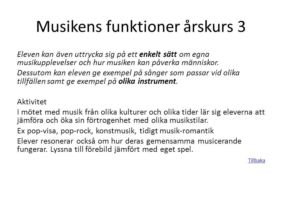 Musikens funktioner årskurs 3 Eleven kan även uttrycka sig på ett enkelt sätt om egna musikupplevelser och hur musiken kan påverka människor. Dessutom