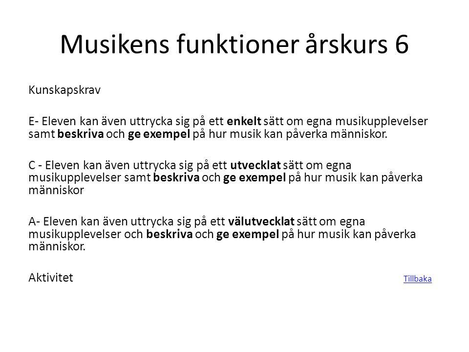 Musikens funktioner årskurs 6 Kunskapskrav E- Eleven kan även uttrycka sig på ett enkelt sätt om egna musikupplevelser samt beskriva och ge exempel på