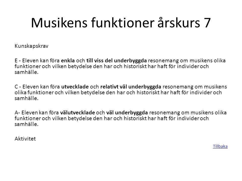 Musikens funktioner årskurs 7 Kunskapskrav E - Eleven kan föra enkla och till viss del underbyggda resonemang om musikens olika funktioner och vilken