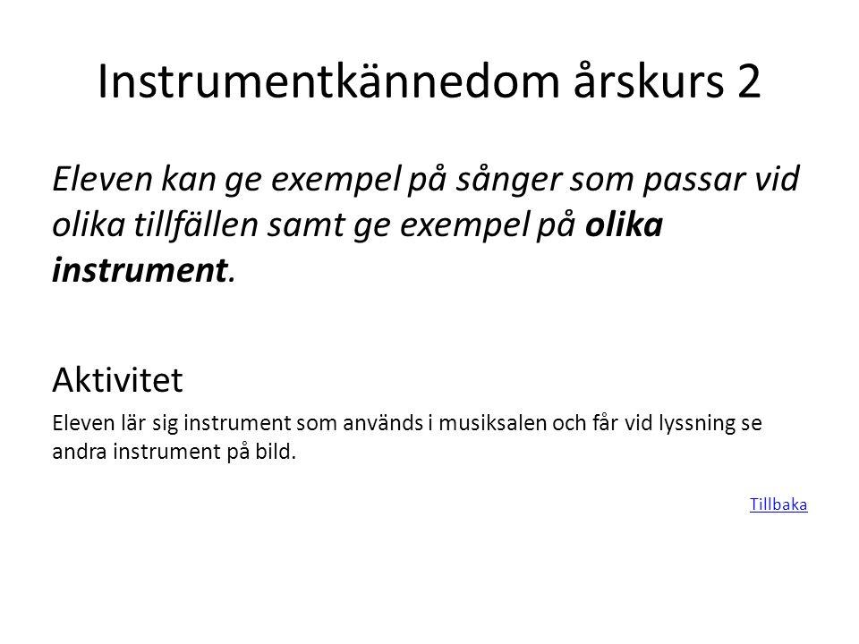 Instrumentkännedom årskurs 2 Eleven kan ge exempel på sånger som passar vid olika tillfällen samt ge exempel på olika instrument. Aktivitet Eleven lär