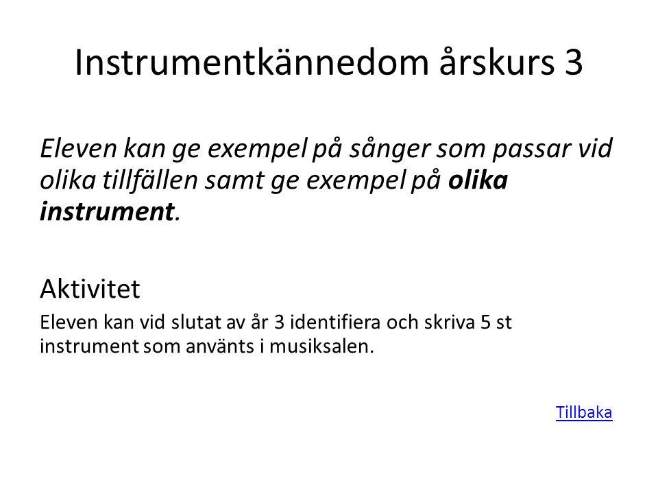 Instrumentkännedom årskurs 3 Eleven kan ge exempel på sånger som passar vid olika tillfällen samt ge exempel på olika instrument. Aktivitet Eleven kan