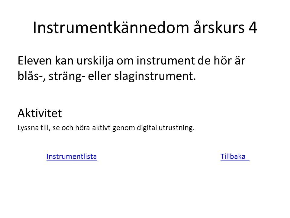 Instrumentkännedom årskurs 4 Eleven kan urskilja om instrument de hör är blås-, sträng- eller slaginstrument. Aktivitet Lyssna till, se och höra aktiv