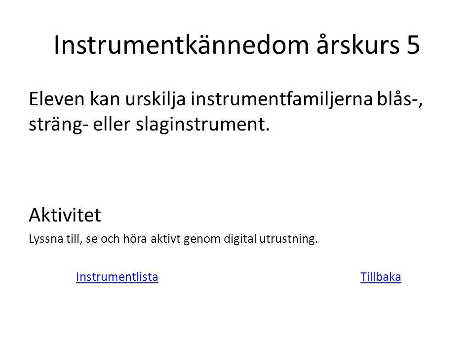 Instrumentkännedom årskurs 5 Eleven kan urskilja instrumentfamiljerna blås-, sträng- eller slaginstrument. Aktivitet Lyssna till, se och höra aktivt g