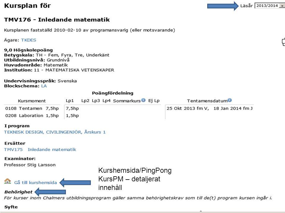 15 Kurshemsida/PingPong KursPM – detaljerat innehåll