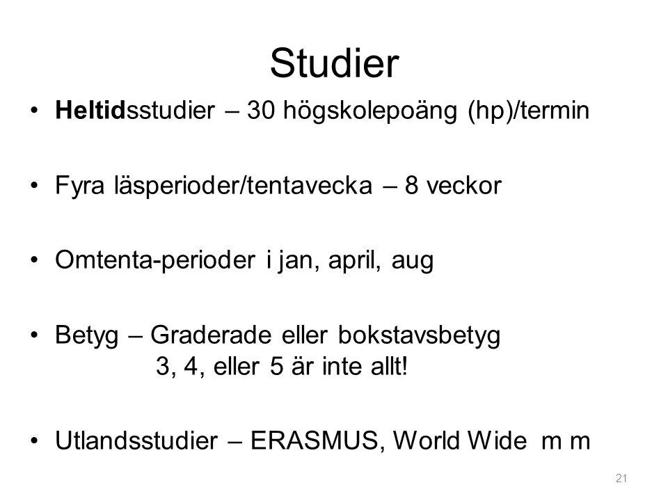 Studier •Heltidsstudier – 30 högskolepoäng (hp)/termin •Fyra läsperioder/tentavecka – 8 veckor •Omtenta-perioder i jan, april, aug •Betyg – Graderade eller bokstavsbetyg 3, 4, eller 5 är inte allt.