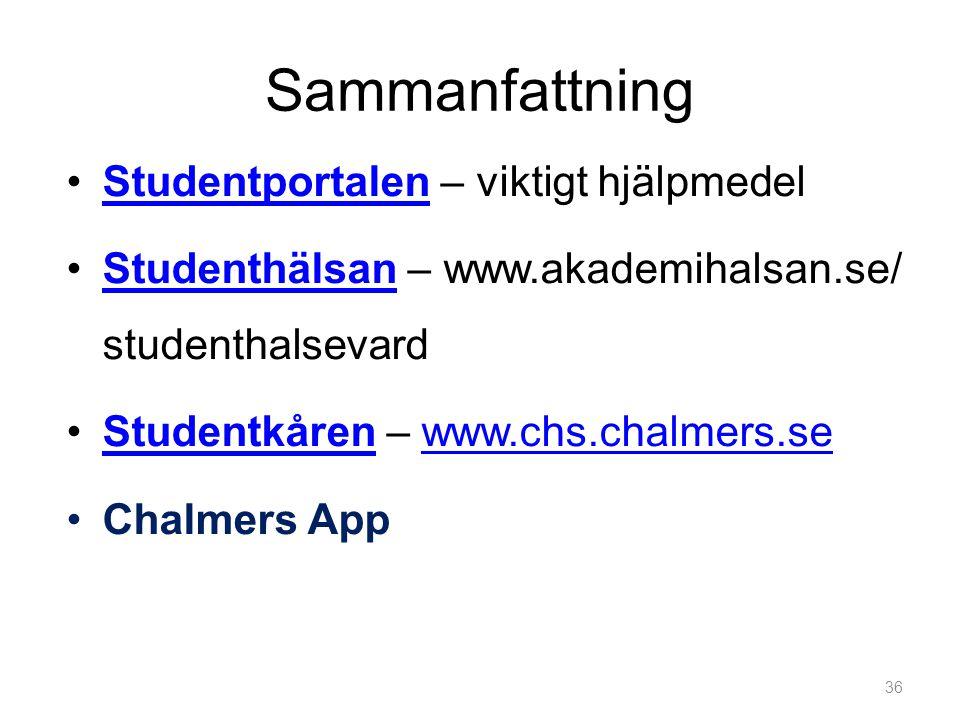 Sammanfattning •Studentportalen – viktigt hjälpmedelStudentportalen •Studenthälsan – www.akademihalsan.se/ studenthalsevardStudenthälsan •Studentkåren – www.chs.chalmers.seStudentkårenwww.chs.chalmers.se •Chalmers App 36