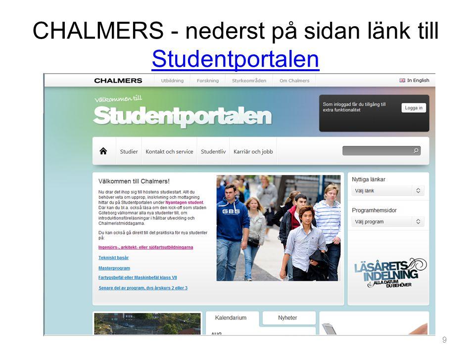 CHALMERS - nederst på sidan länk till Studentportalen Studentportalen 9