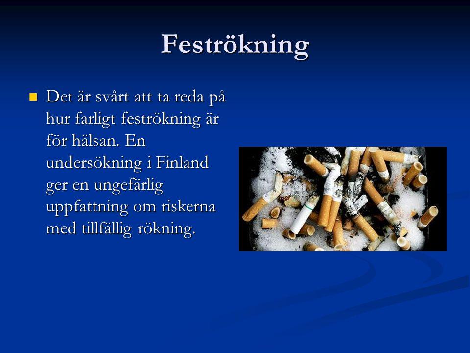Feströkning  Det är svårt att ta reda på hur farligt feströkning är för hälsan. En undersökning i Finland ger en ungefärlig uppfattning om riskerna m