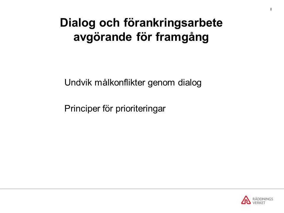 9 Målkonflikt exempel från Jönköping snabba räddningsinsatser ökad trafiksäkerhet Målkonflikt Åtgärder