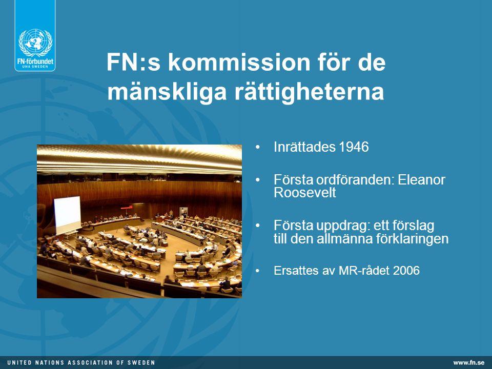 FN:s kommission för de mänskliga rättigheterna •Inrättades 1946 •Första ordföranden: Eleanor Roosevelt •Första uppdrag: ett förslag till den allmänna förklaringen •Ersattes av MR-rådet 2006