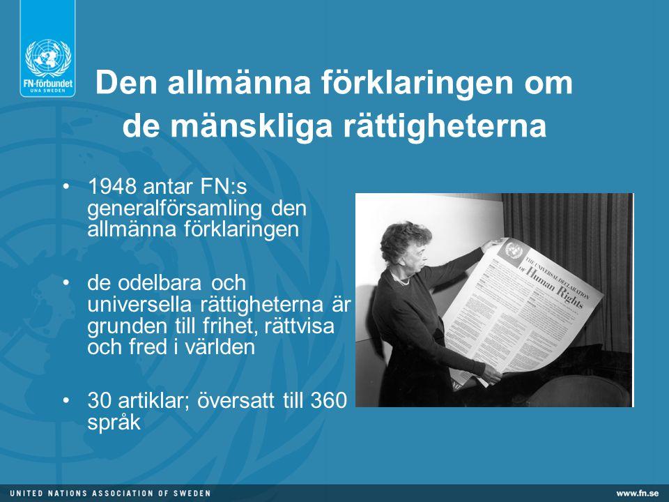 Den allmänna förklaringen om de mänskliga rättigheterna •1948 antar FN:s generalförsamling den allmänna förklaringen •de odelbara och universella rättigheterna är grunden till frihet, rättvisa och fred i världen •30 artiklar; översatt till 360 språk