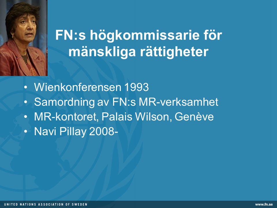 FN:s högkommissarie för mänskliga rättigheter •Wienkonferensen 1993 •Samordning av FN:s MR-verksamhet •MR-kontoret, Palais Wilson, Genève •Navi Pillay 2008-