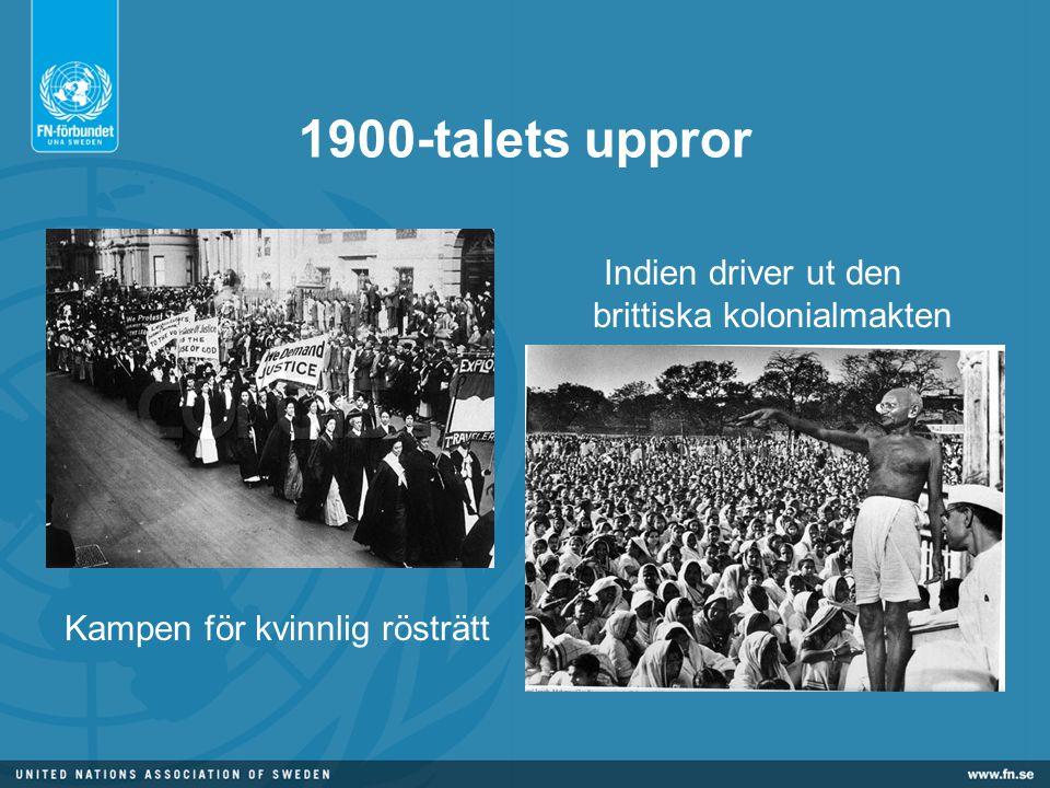 1900-talets uppror Indien driver ut den brittiska kolonialmakten Kampen för kvinnlig rösträtt