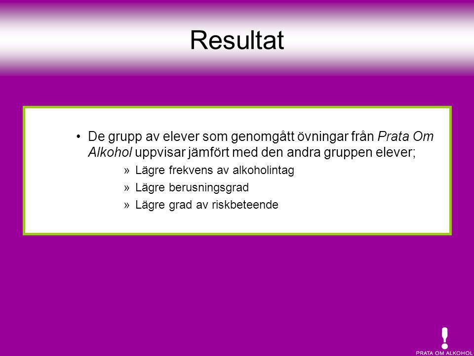 Resultat •De grupp av elever som genomgått övningar från Prata Om Alkohol uppvisar jämfört med den andra gruppen elever; »Lägre frekvens av alkoholint