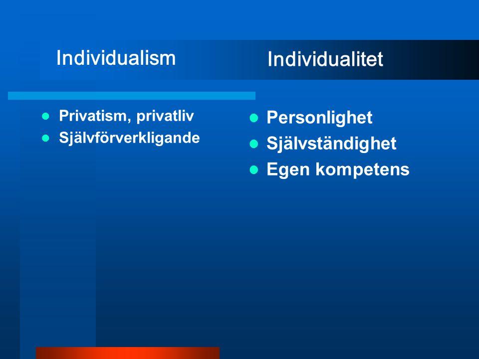  Privatism, privatliv  Självförverkligande  Personlighet  Självständighet  Egen kompetens Individualism Individualitet