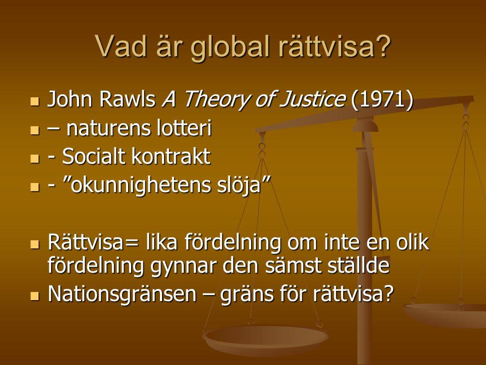 """Vad är global rättvisa?  John Rawls A Theory of Justice (1971)  – naturens lotteri  - Socialt kontrakt  - """"okunnighetens slöja""""  Rättvisa= lika f"""